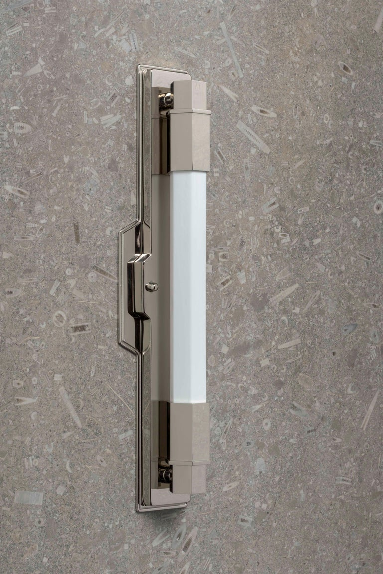 Jamb, Conroy, Nickel Wall Light Sconce in the Art Deco Style (USA Wired)  In Excellent Condition For Sale In London, GB