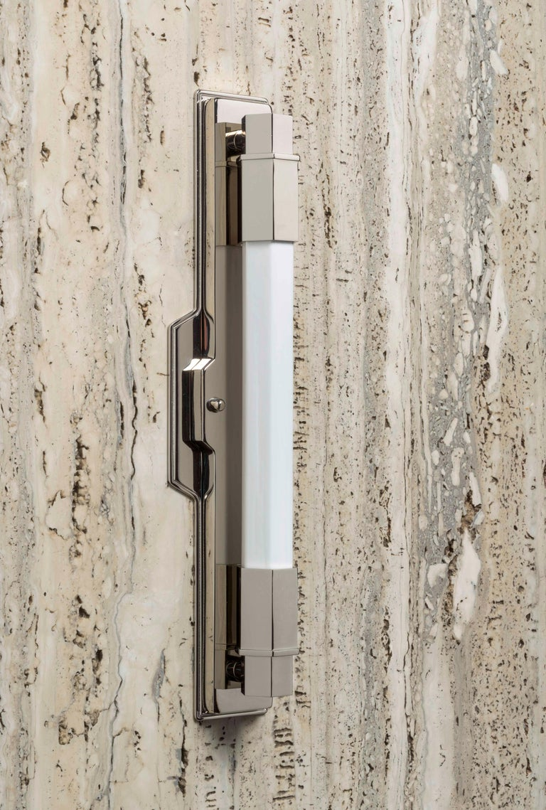 Contemporary Jamb, Conroy, Nickel Wall Light Sconce in the Art Deco Style (USA Wired)  For Sale