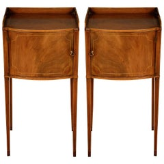 Pair of George III Mahogany and Box Wood Strung Bedside Cabinets
