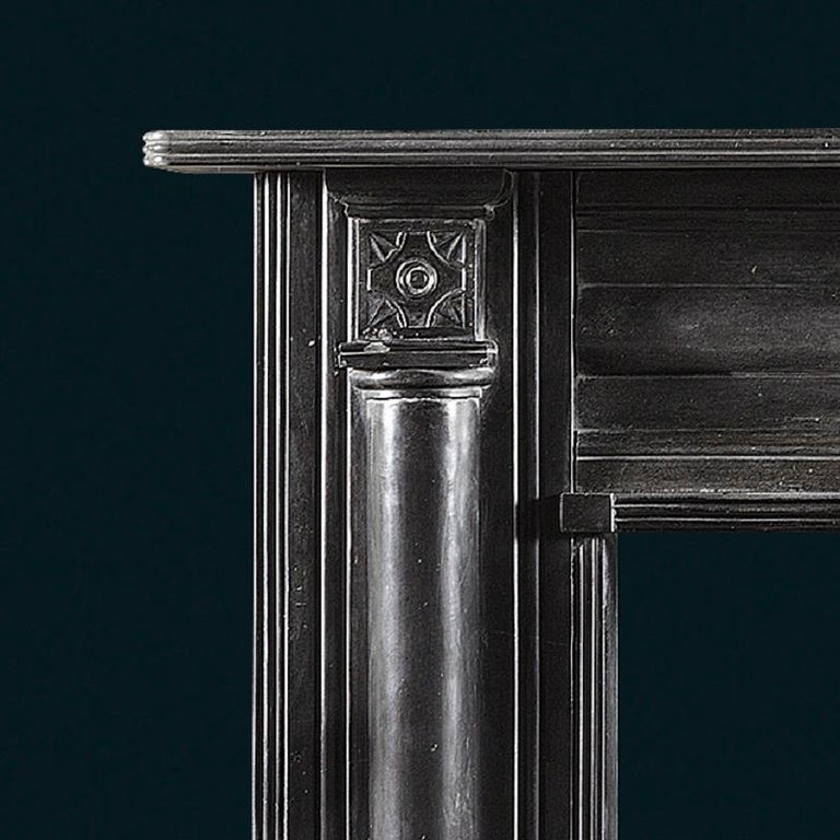 British Antique Regency Period Fireplace in Black Marble For Sale