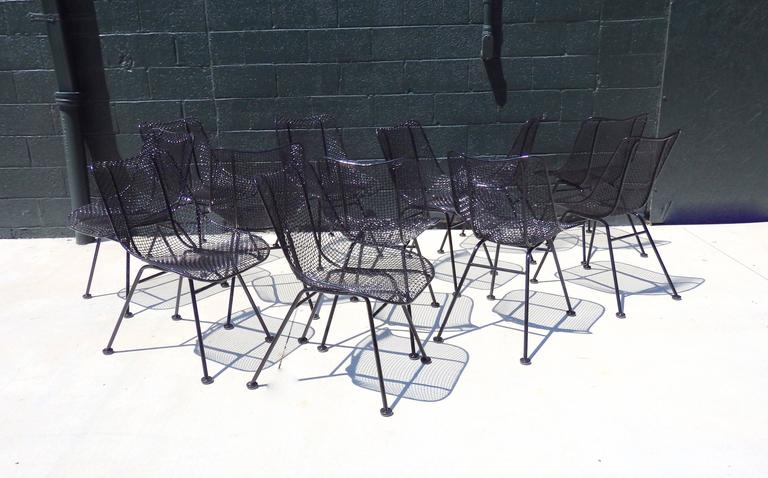 Best Set of 12 Restored Woodard Wrought Iron with Mesh Dining Chairs 6