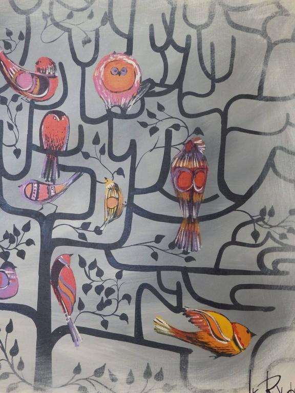 Large Format Lee Reynolds Birds of a Feather Tree of Life Op Pop Painting 2