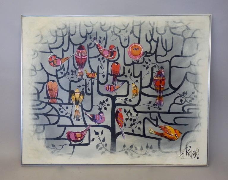 Large Format Lee Reynolds Birds of a Feather Tree of Life Op Pop Painting 3