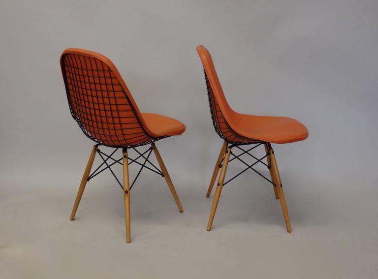 Pair of Early Charles and Ray Eames for Herman Miller Dowel Leg Wire Chairs 4