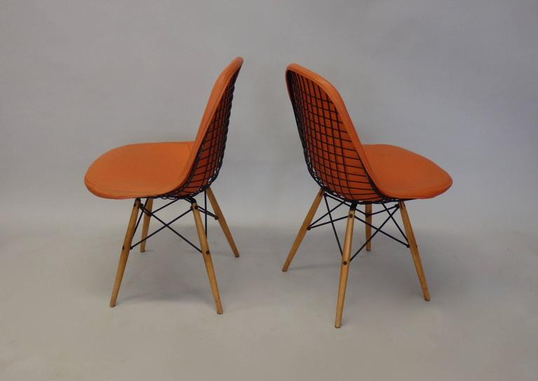 Welded Pair of Early Charles and Ray Eames for Herman Miller Dowel Leg Wire Chairs For Sale