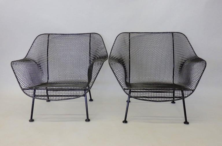 Nicely Restored Russell Woodard Wrought Iron with Steel Mesh Lounge Chairs 2