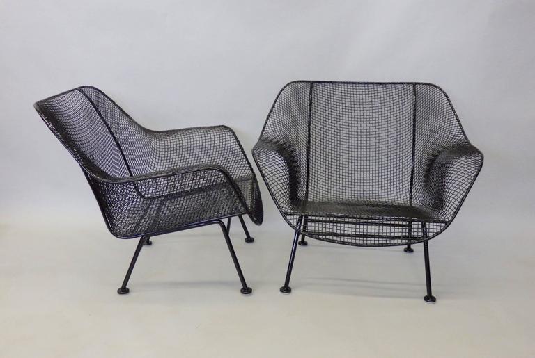Nicely Restored Russell Woodard Wrought Iron with Steel Mesh Lounge Chairs 3
