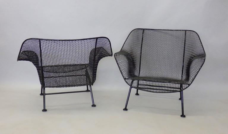 Nicely Restored Russell Woodard Wrought Iron with Steel Mesh Lounge Chairs 4