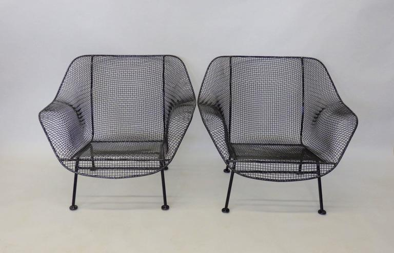 Nicely Restored Russell Woodard Wrought Iron with Steel Mesh Lounge Chairs 5