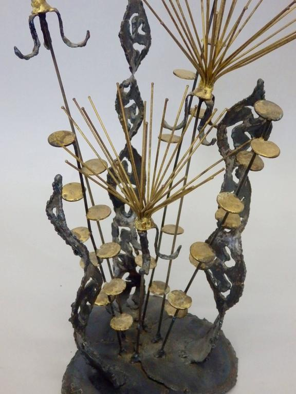American Torch Cut and Welded Brass on Steel Brutalist Sculpture Signed Pascoe For Sale