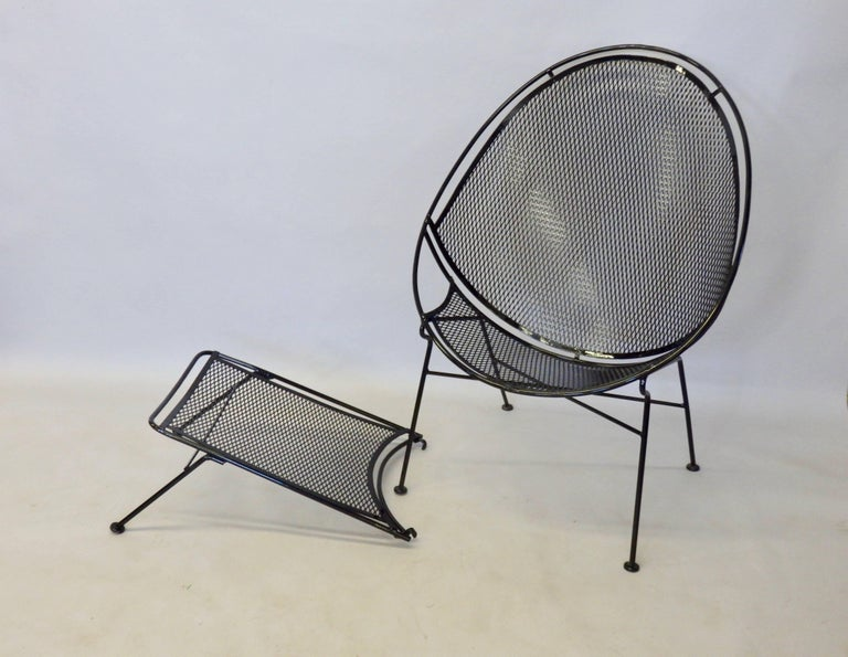 Mid-Century Modern Pair of Salterini Wrought Iron High Back Lounge Chairs For Sale