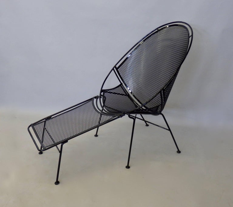 American Pair of Salterini Wrought Iron High Back Lounge Chairs For Sale