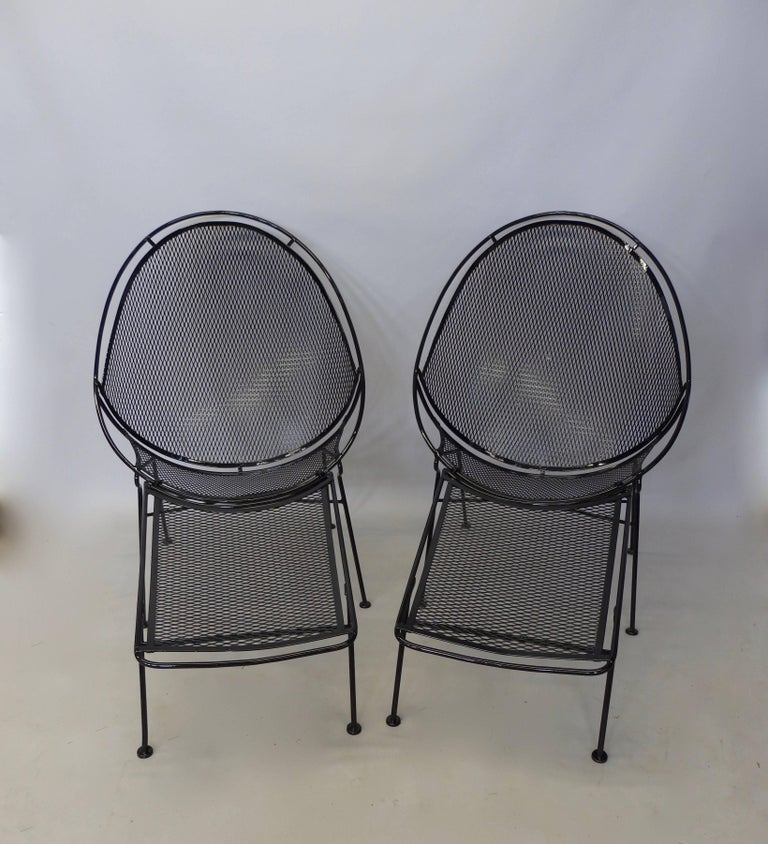 Powder-Coated Pair of Salterini Wrought Iron High Back Lounge Chairs For Sale