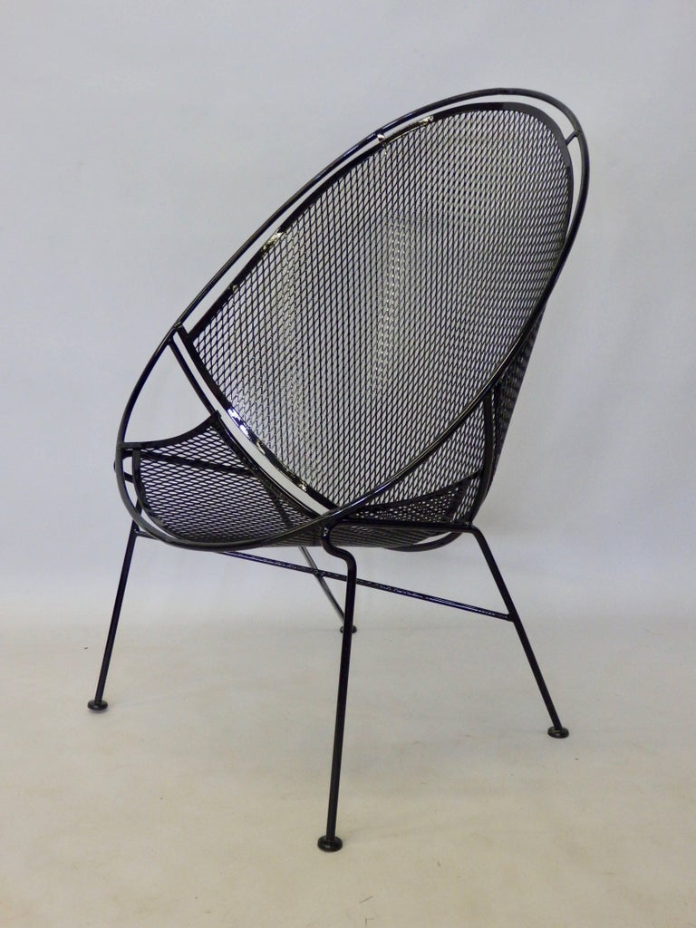 Pair of Salterini Wrought Iron High Back Lounge Chairs For Sale at 1stdibs