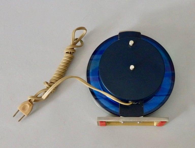 Mid-Century Modern Blue Mirror with Chrome Art Deco Clock For Sale