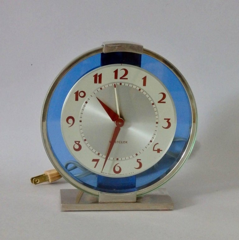 American Blue Mirror with Chrome Art Deco Clock For Sale