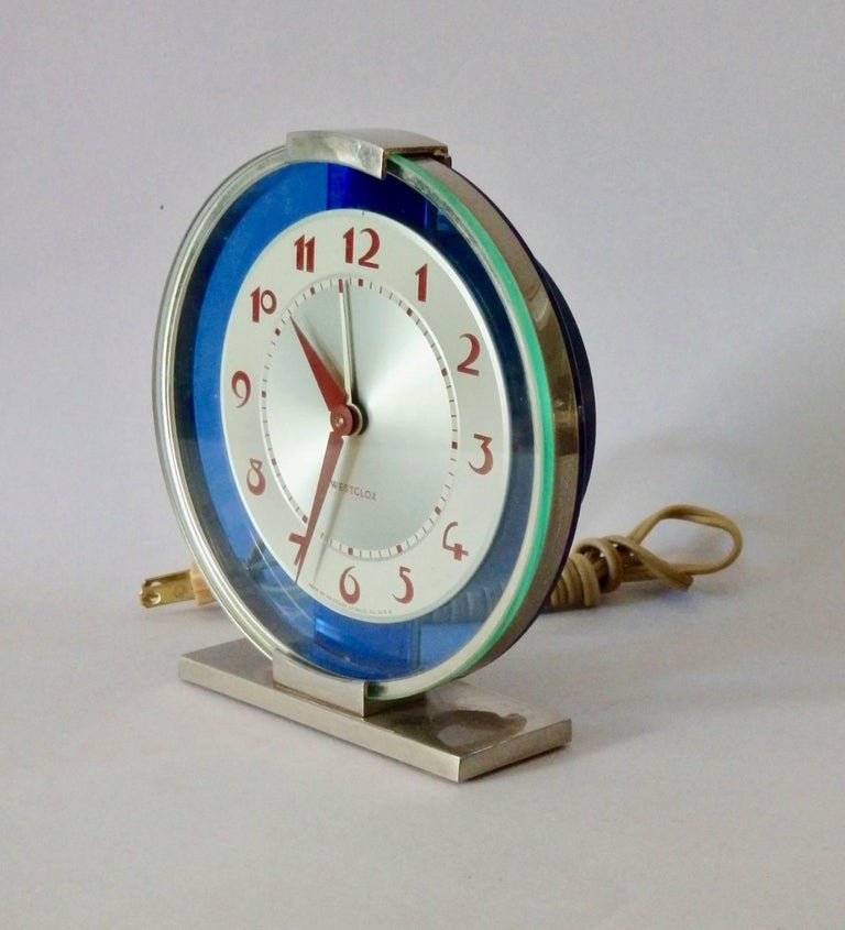 Blue Mirror with Chrome Art Deco Clock In Excellent Condition For Sale In Ferndale, MI