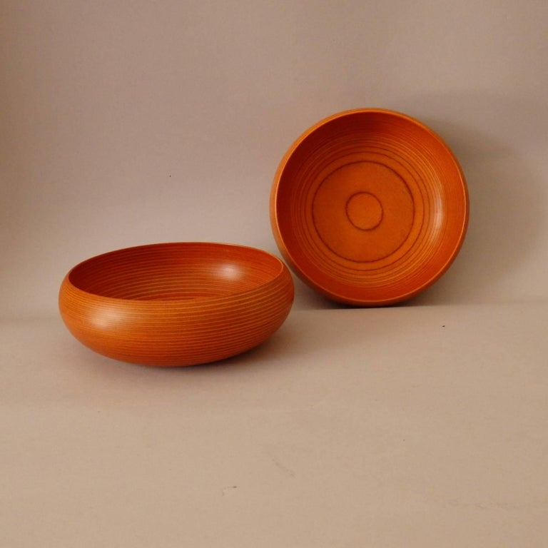 Pair of Paavo Asikainen Turned Laminate Wood Bowl 2