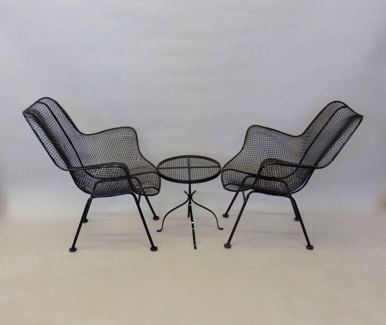 Pair of Woodard Wrought Iron Tall Back Lounge Chairs with Table For Sale at 1