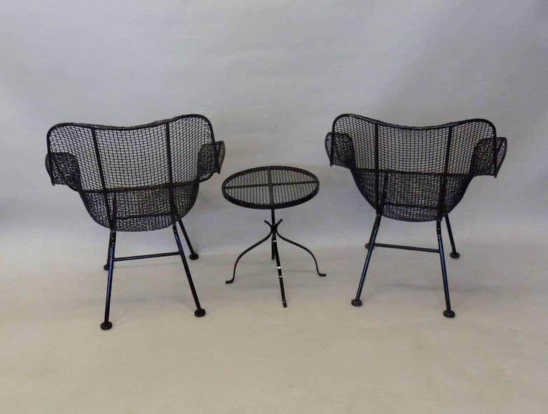 Pair Of Woodard Wrought Iron Tall Back Lounge Chairs With Table For Sale At 1stdibs