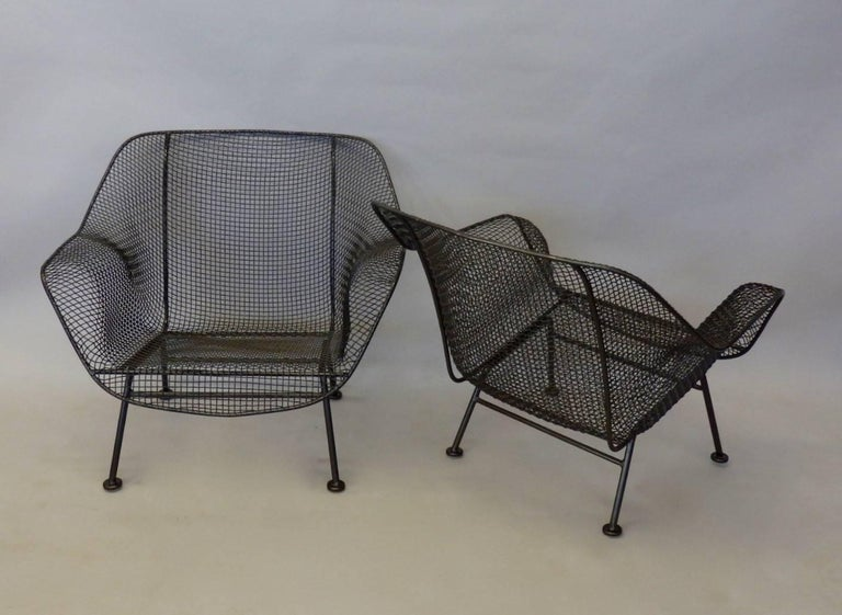 Pair of Bronze Finish Woodard Wrought Iron Lounge Chairs For Sale at 1stdibs