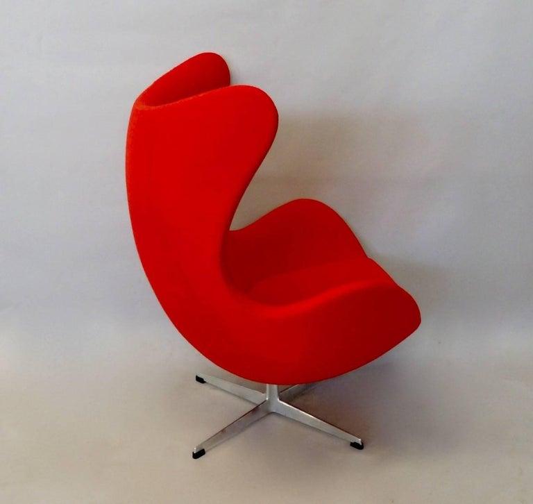 Danish Red Arne Jacobsen Fritz Hansen Egg Chair with Ottoman For Sale