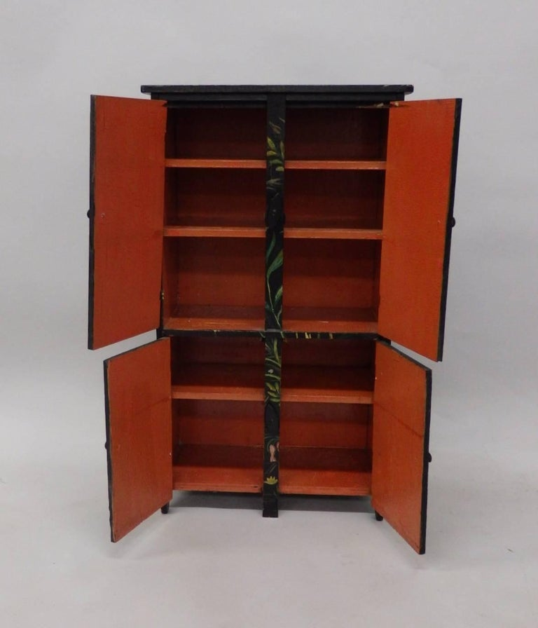 Hand-Crafted Diminutive Hand-Painted Folk Art Cabinet For Sale