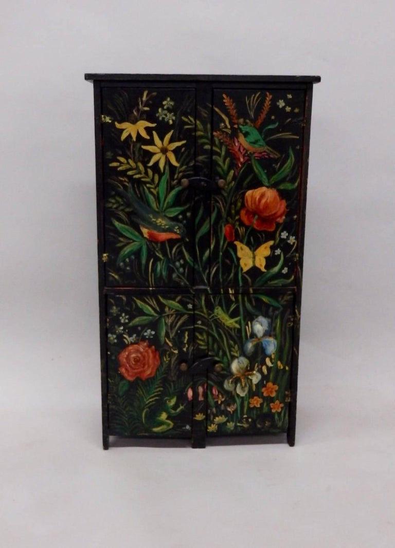 American Diminutive Hand-Painted Folk Art Cabinet For Sale