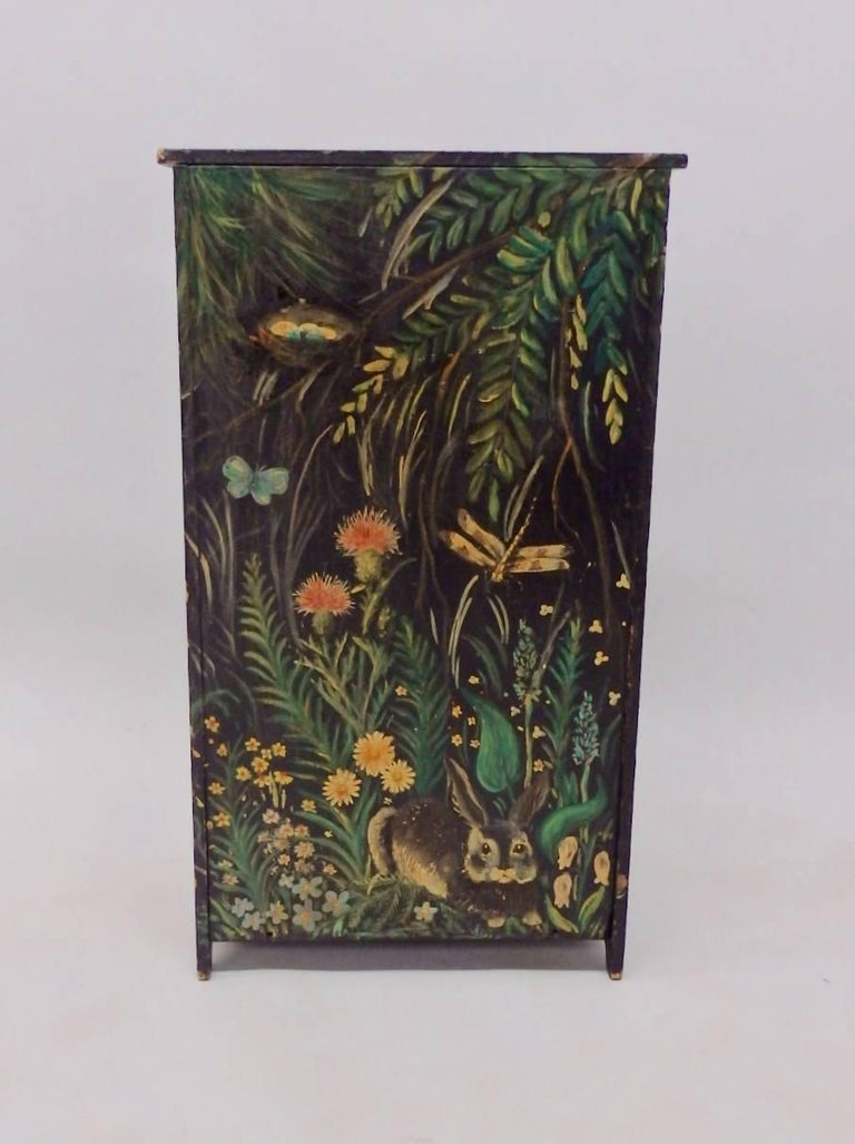 Diminutive Hand-Painted Folk Art Cabinet In Excellent Condition For Sale In Ferndale, MI