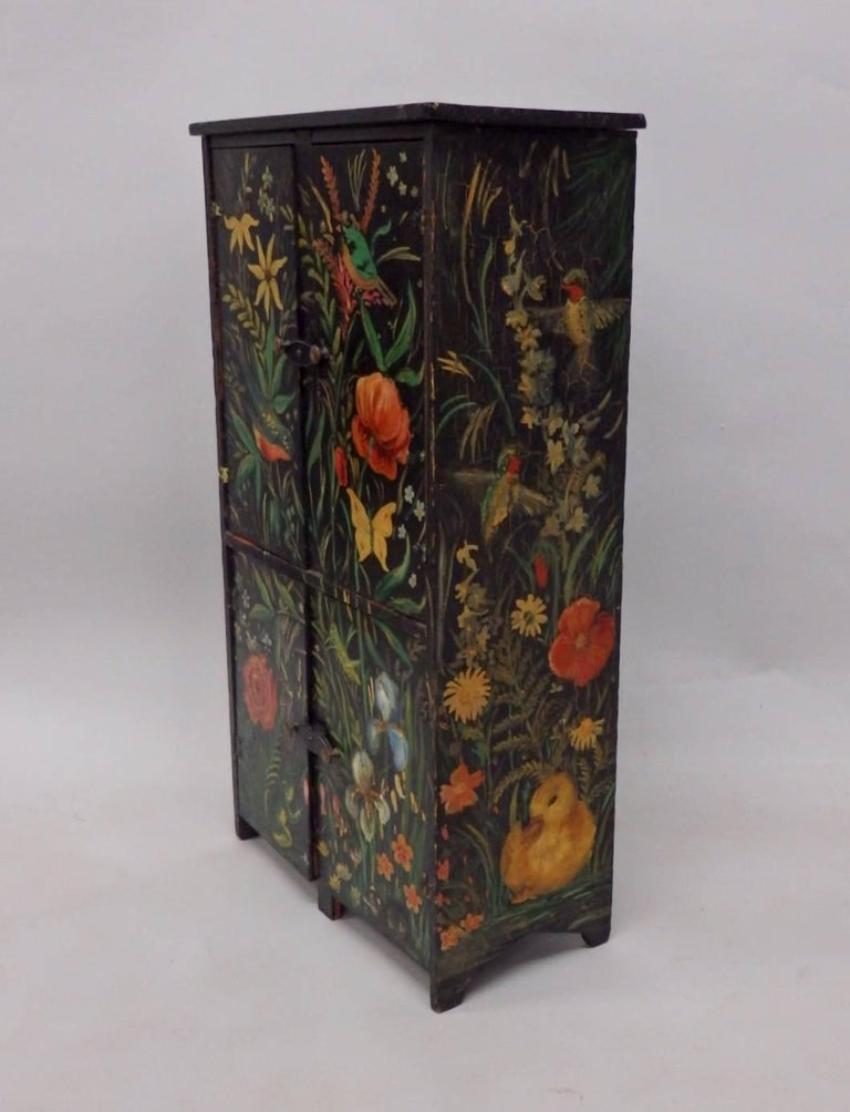 Diminutive Hand-Painted Folk Art Cabinet 2