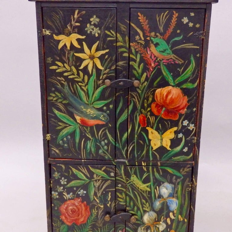 Diminutive Hand-Painted Folk Art Cabinet For Sale 2