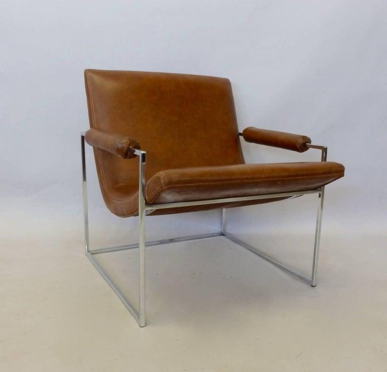 American Milo Baughman Thayer Coggin Chrome Frame Lounge Chair For Sale