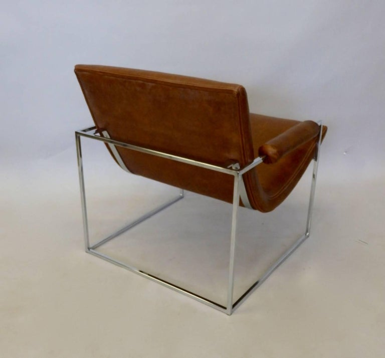 Mid-Century Modern Milo Baughman Thayer Coggin Chrome Frame Lounge Chair For Sale