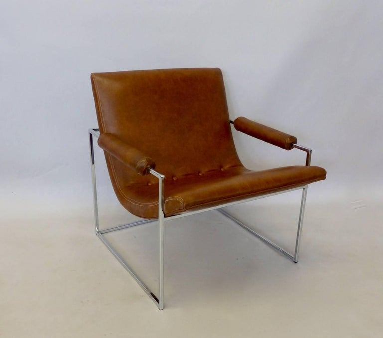 Milo Baughman Thayer Coggin Chrome Frame Lounge Chair In Good Condition For Sale In Ferndale, MI