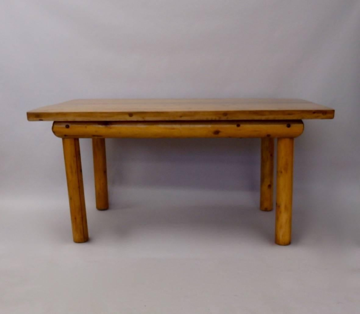 Knotty Pine Rustic Adirondack Ranch Or Cottage Dining Table With Benches In  Excellent Condition For Sale