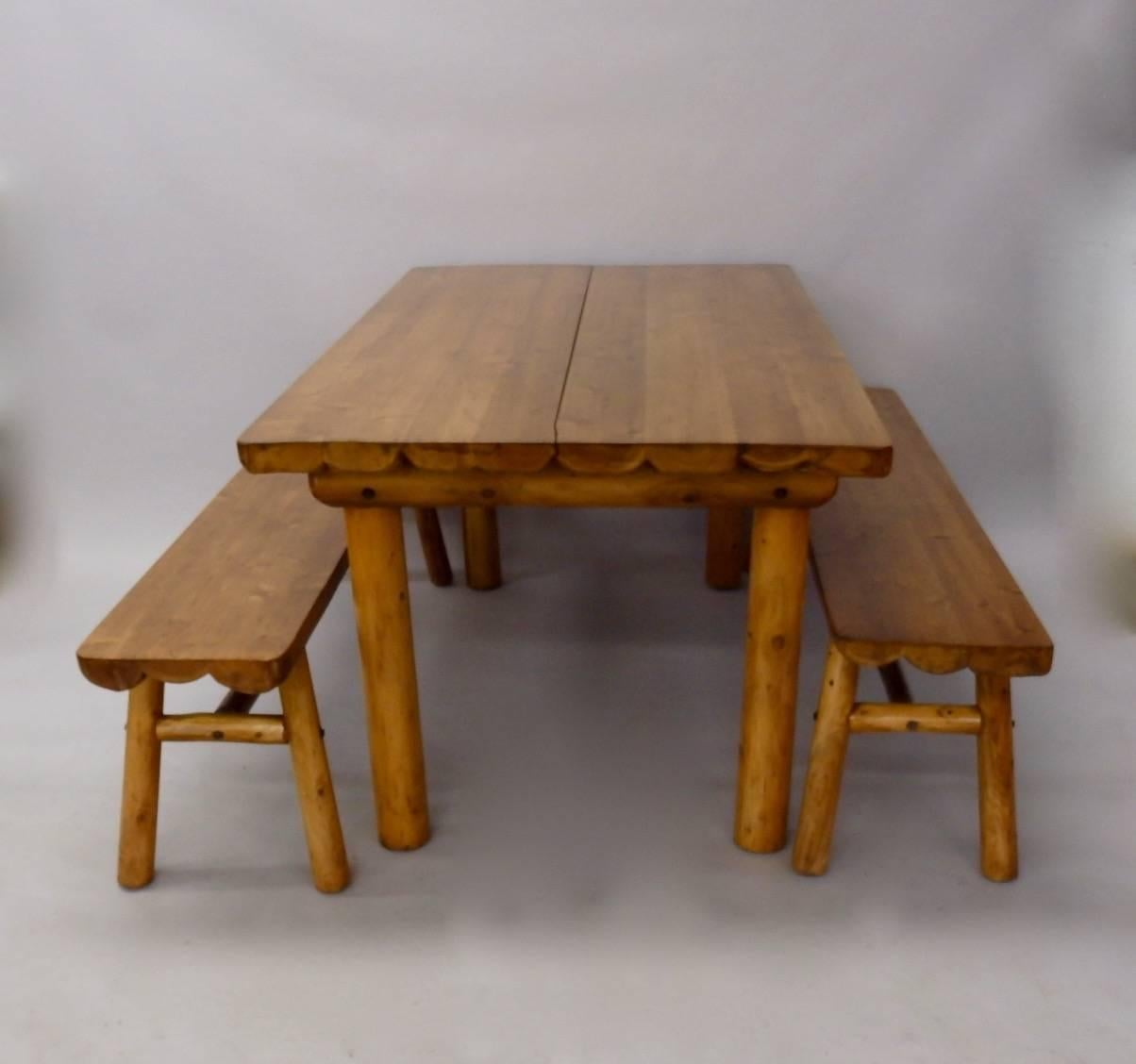 American Knotty Pine Rustic Adirondack Cabin , Ranch Or Cottage Dining Table  With Benches For Sale