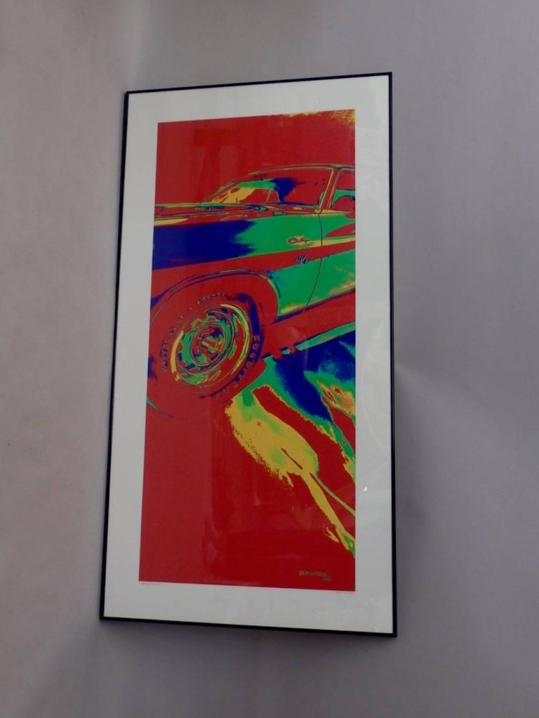 Giclee fine art print one of one ever printed as artist proof. Series was never produced. Image of 1970s Dodge Challenger.