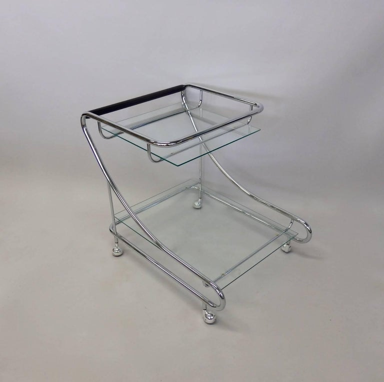 Mid-Century Modern Art Deco Styled Chrome with Glass Drinks Cart For Sale