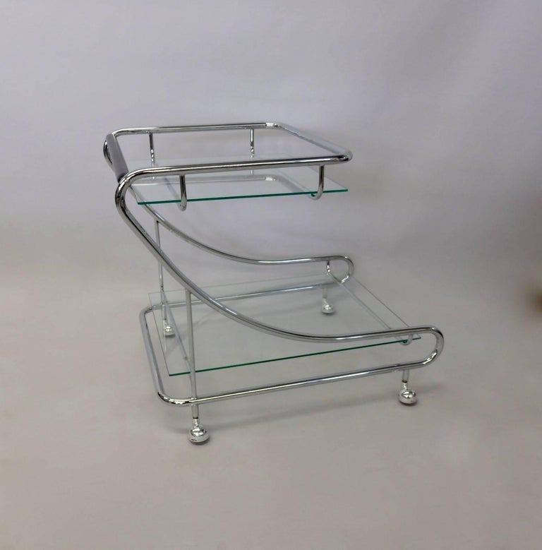 American Art Deco Styled Chrome with Glass Drinks Cart For Sale