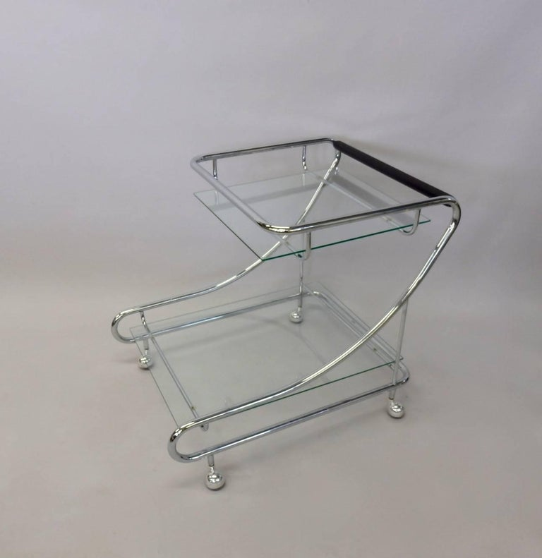 Art Deco Styled Chrome with Glass Drinks Cart In Excellent Condition For Sale In Ferndale, MI