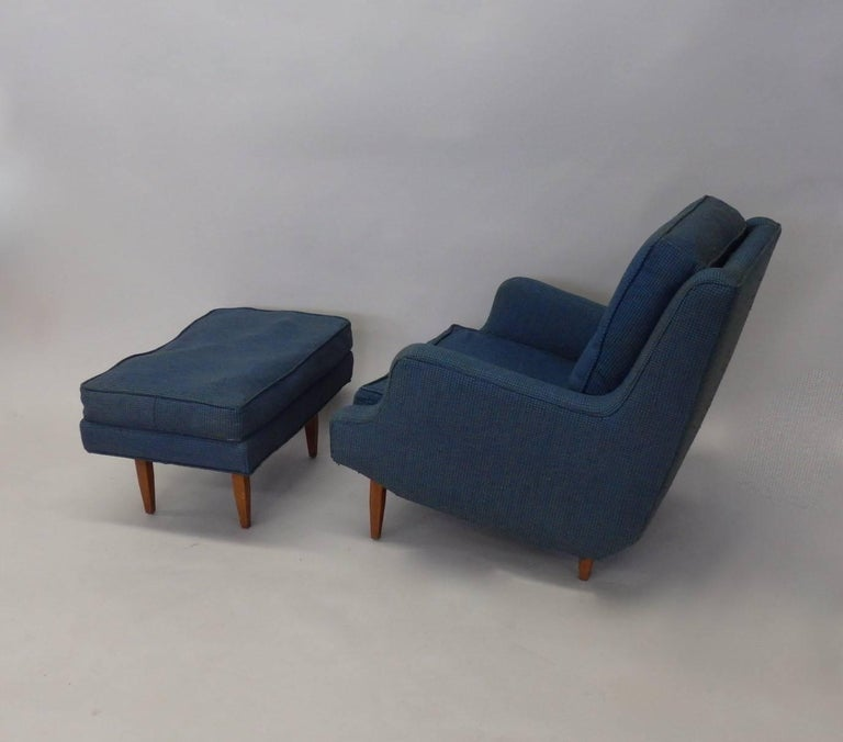 Mid-20th Century Pair of as Found Erno Fabry Tall Lounge Chairs with Ottoman For Sale