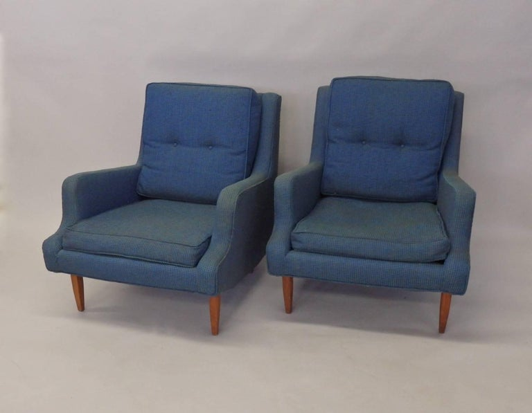 Pair of Fabry Associates chairs with ottoman. Shown in original worn and faded textile . Seat and ottoman foam have hardened. The chairs will need to be restored. Too many times I restore upholstered furniture only to ship directly to clients