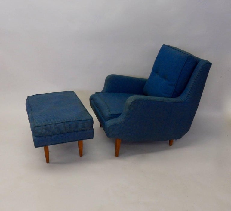 Pair of as Found Erno Fabry Tall Lounge Chairs with Ottoman In Good Condition For Sale In Ferndale, MI