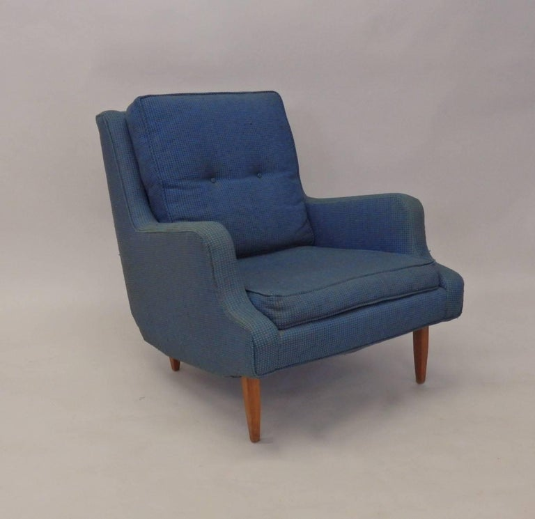 Pair of as Found Erno Fabry Tall Lounge Chairs with Ottoman For Sale 1