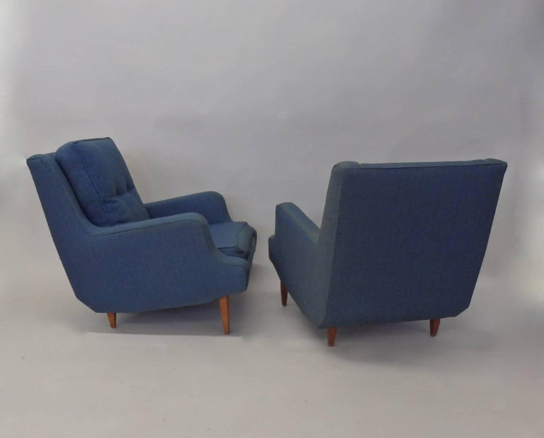 Mid-Century Modern Pair of as Found Erno Fabry Tall Lounge Chairs with Ottoman For Sale