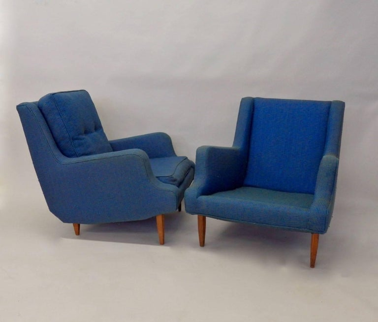 American Pair of as Found Erno Fabry Tall Lounge Chairs with Ottoman For Sale