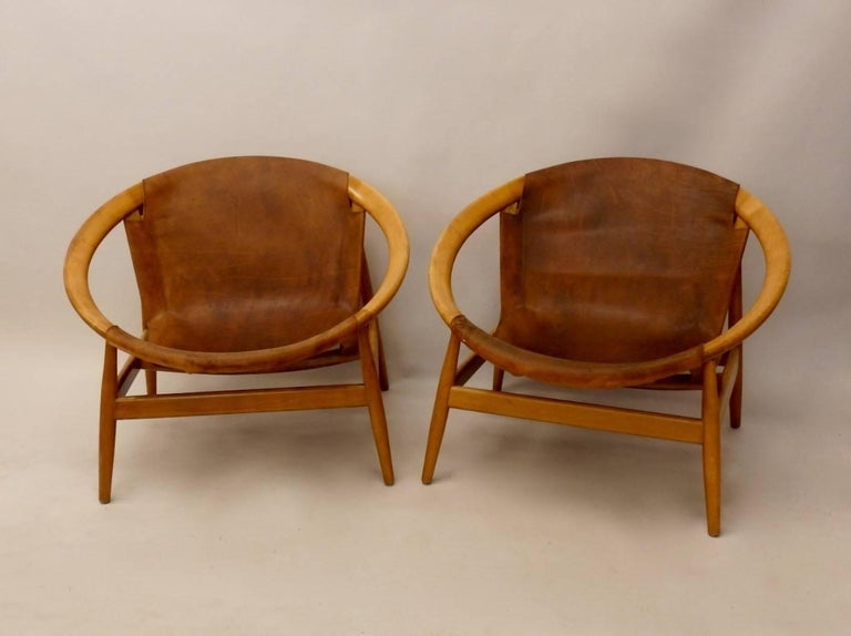 Danish Pair of Illum Wikkelso Leather Covered Ringstol or Hoop Chairs For Sale