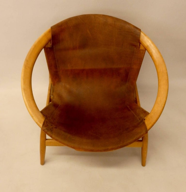 20th Century Pair of Illum Wikkelso Leather Covered Ringstol or Hoop Chairs For Sale