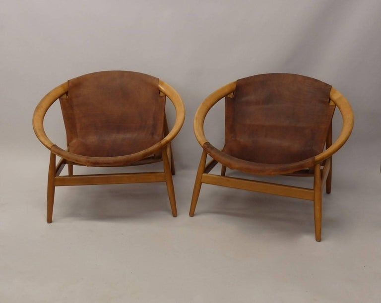 Mid-Century Modern Pair of Illum Wikkelso Leather Covered Ringstol or Hoop Chairs For Sale