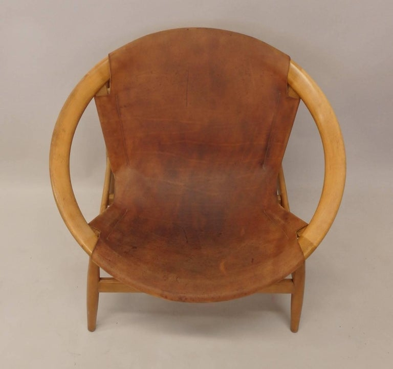 Pair of Illum Wikkelso Leather Covered Ringstol or Hoop Chairs For Sale 1